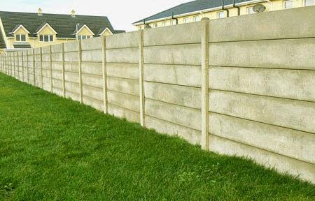 concrete base panels in plain concrete fencing